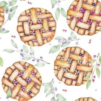 Watercolor berry pie seamless pattern