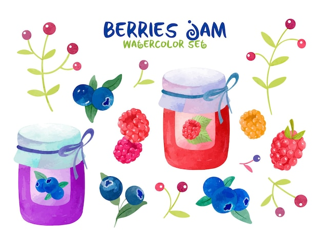 Watercolor berry set with blueberries raspberries lingonberries and delicious jam