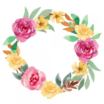 Watercolor berry yellow loose floral wreath arrangement illustration