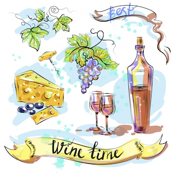 Watercolor best wine time concept sketch vector illustration