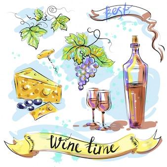 Watercolor best wine time concept sketch vector illustration