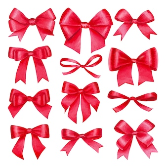 Watercolor big set with colorful red satin bows