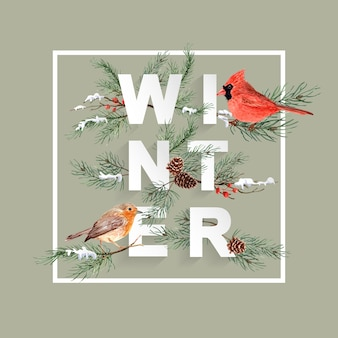 Watercolor bird christmas frame with pine on winter font.