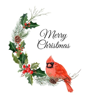 Watercolor bird christmas with pine tree and holly.