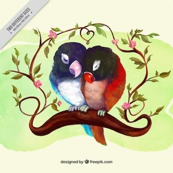 水彩鳥のカップル