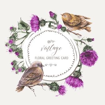 アザミのグリーティングカードの植物画と枝に水彩の鳥