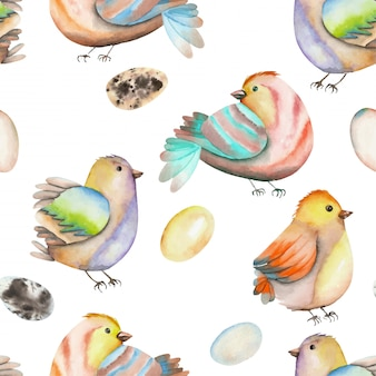 Watercolor birds and eggs seamless pattern