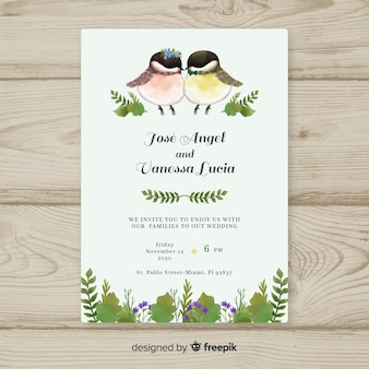 Watercolor birds wedding invitation template