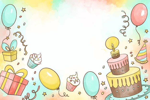Watercolor birthday background concept