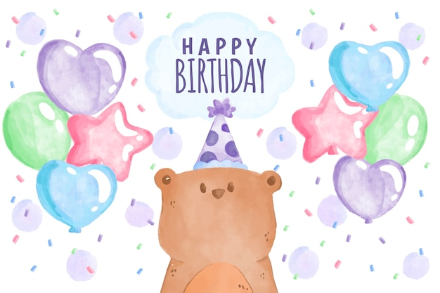 Watercolor birthday background theme