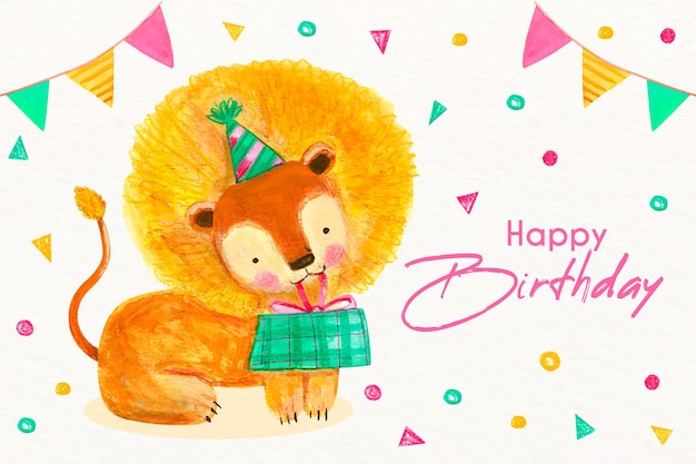 Watercolor birthday background with animal