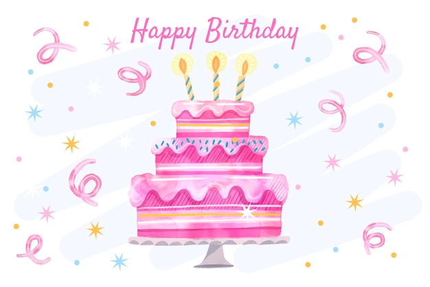Watercolor birthday background with cake