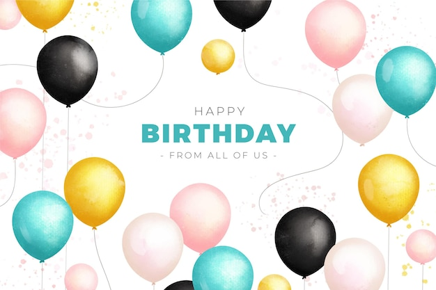 Watercolor birthday background with colorful balloons