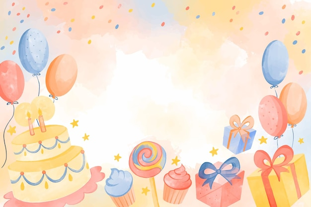 Watercolor birthday background with empty space