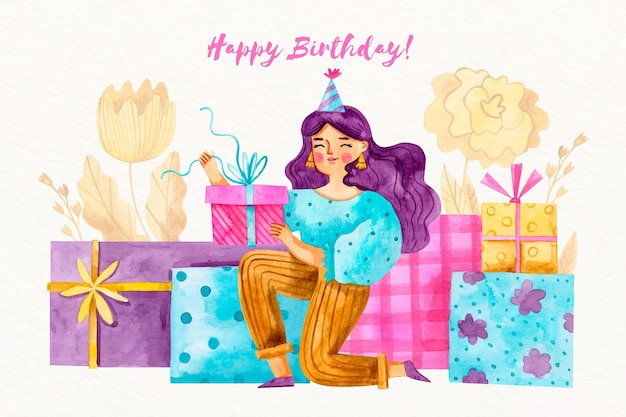 Watercolor birthday background with girl