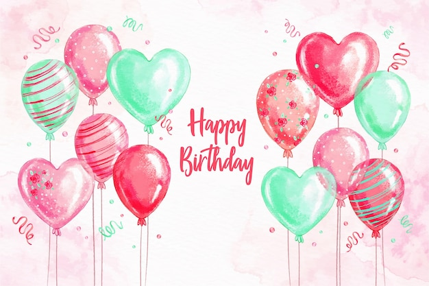 Watercolor birthday background