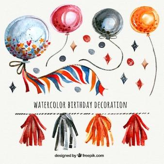 Воздушные шары на день рождения акварель