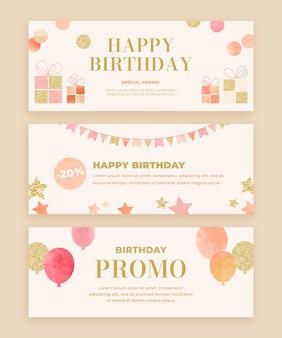Modello di banner di compleanno dell'acquerello