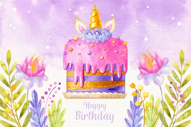 Watercolor birthday cake background