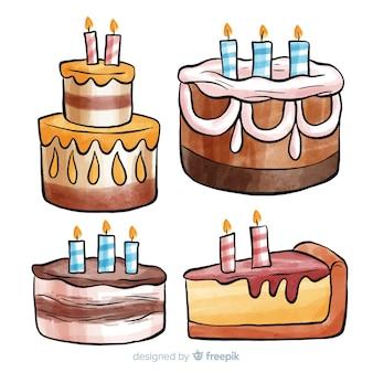 水彩バースデーケーキコレクション