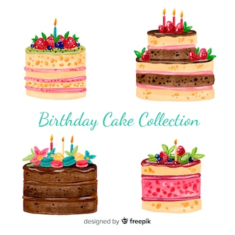 Watercolor birthday cake collection