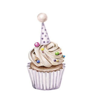 Watercolor birthday cake.cupcake isolated on white background