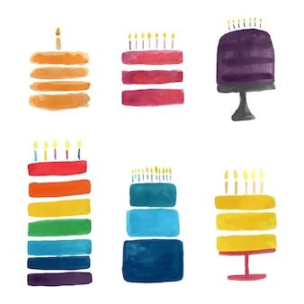 흰색 바탕에 만화 스타일의 수채화 생일 케이크. 아이 격리 벡터 일러스트 레이 션. 귀여운 장식 카드입니다. 맛있는 음식. 휴일 축 하 초대 컬렉션입니다.