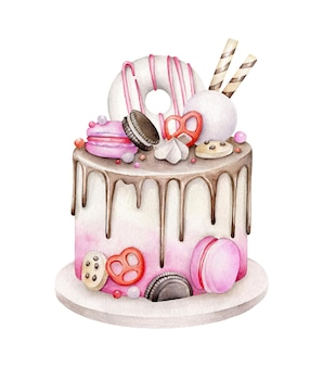 Акварельный торт ко дню рождения, изолированные на белом фоне