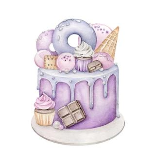 Акварельный торт ко дню рождения