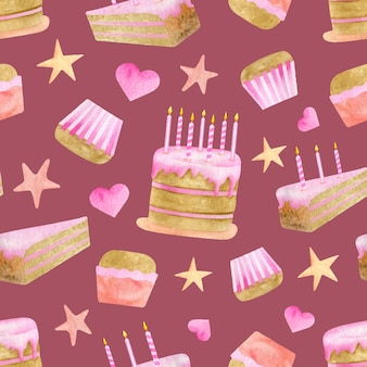 Watercolor birthday cakes seamless pattern. cute pink happy birthday background