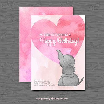 Watercolor birthday card with an elephant