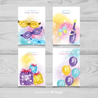 Watercolor birthday card with party elements collection