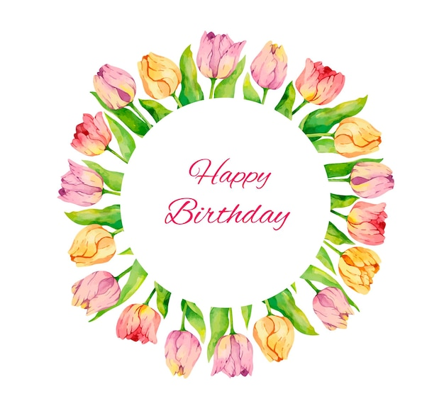 Watercolor birthday card with tulips