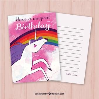 Carta di compleanno di acquerello con unicorno