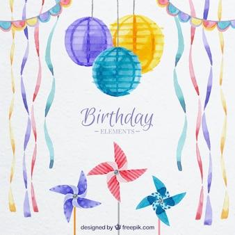 Элементы акварели день рождения комплект