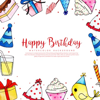 Watercolor birthday frame background