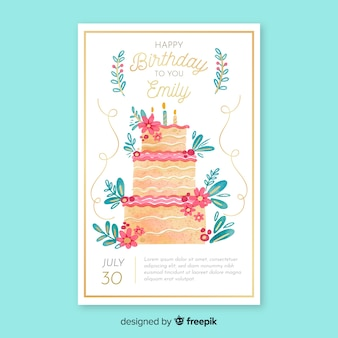 Watercolor birthday invitation card template