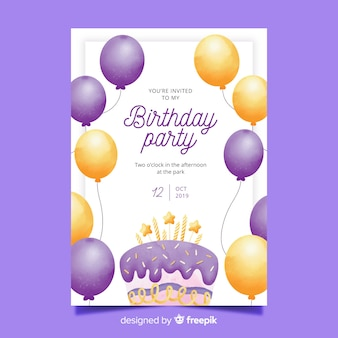 Watercolor birthday invitation with balloons template