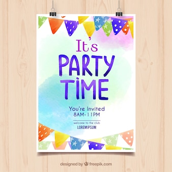 Watercolor birthday party poster Free Vector