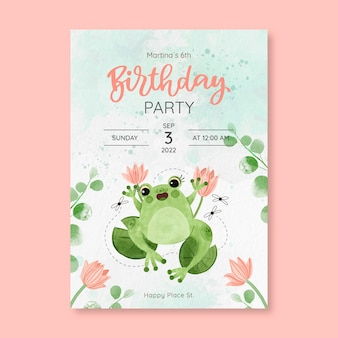 Watercolor birthday party template
