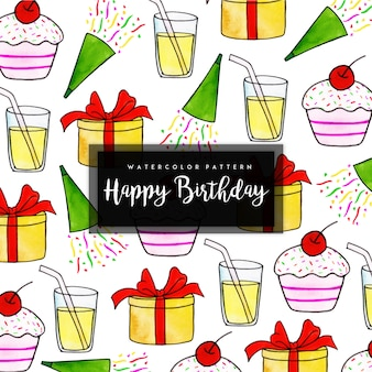 Watercolor birthday pattern background