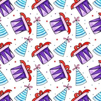 Watercolor birthday pattern Premium Vector