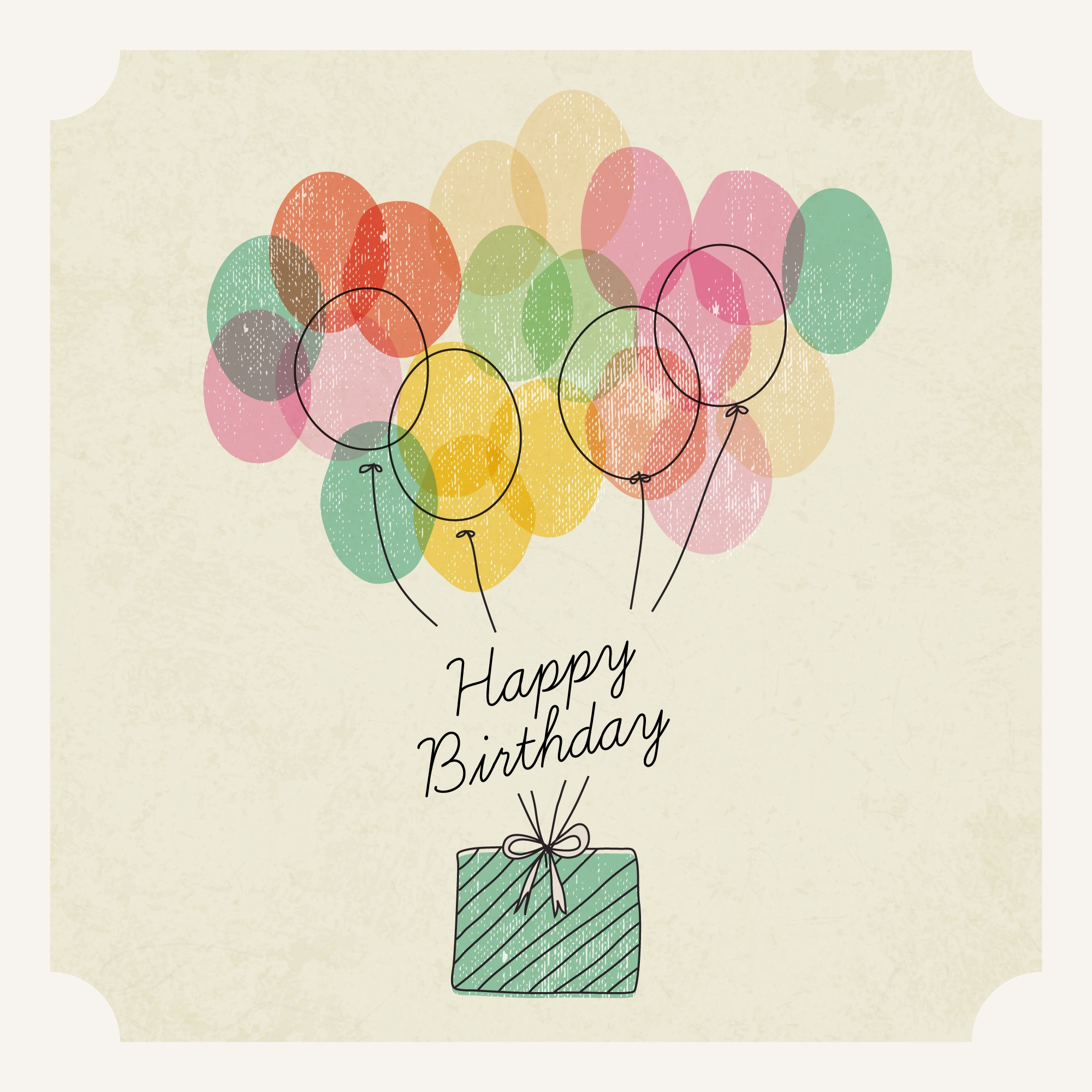 Watercolor Birthday Present with Balloons