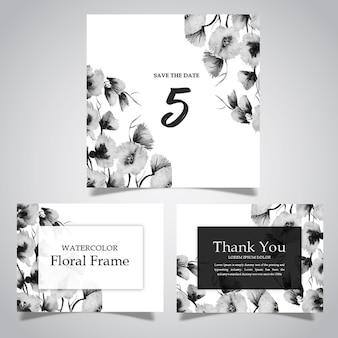 수채화 흑백 꽃 프레임 및 카드 컬렉션