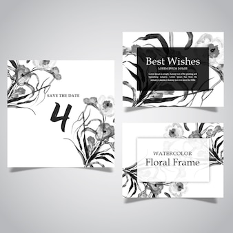Watercolor Black and white Floral Frame and card Collection