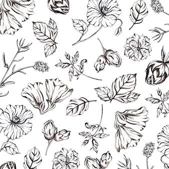水彩黒と白の花柄の背景