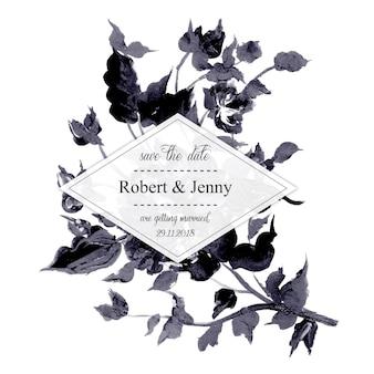 수채화 흑백 꽃 결혼식 초대 카드