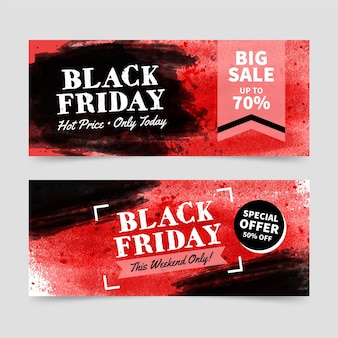 Watercolor black friday banners template