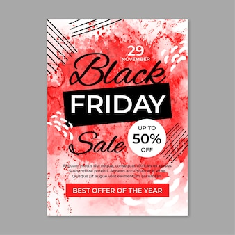 Watercolor black friday flyer template