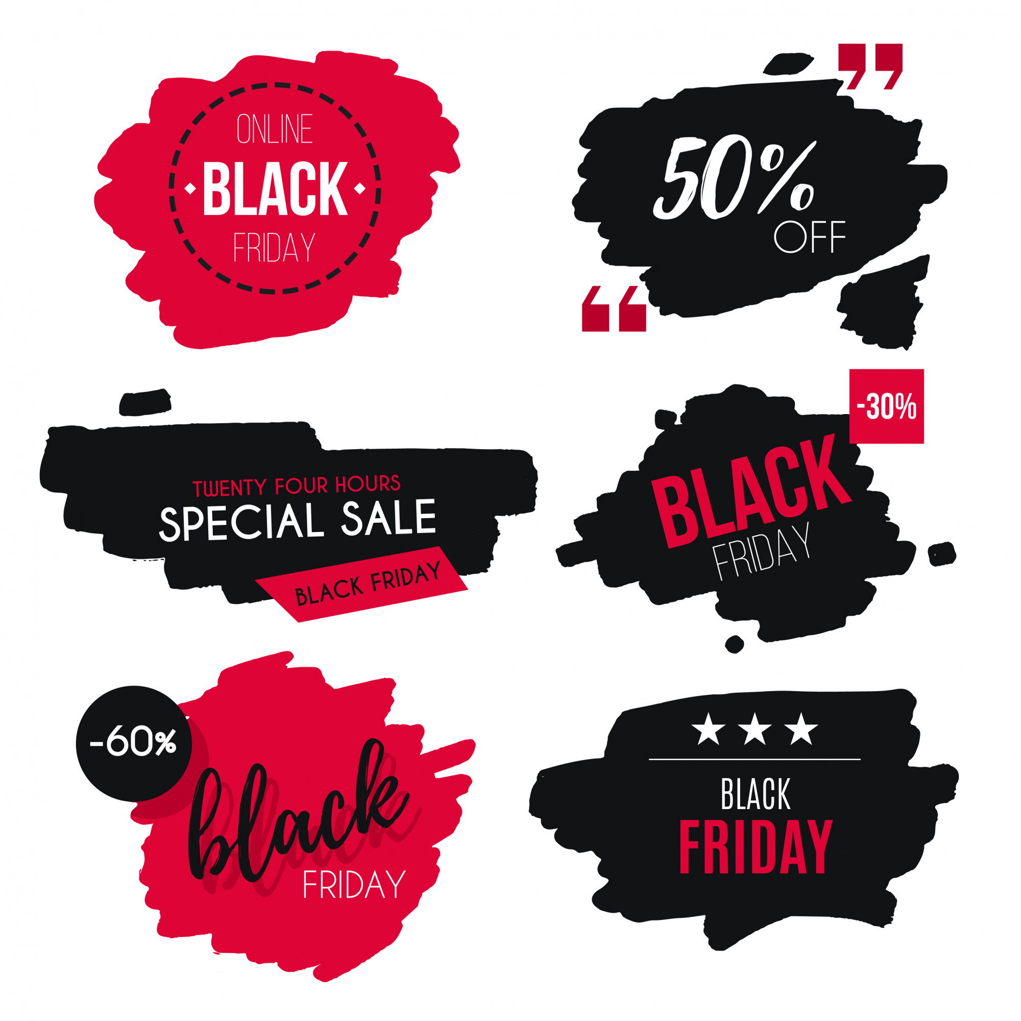 Watercolor Black Friday Sale Badge Collection